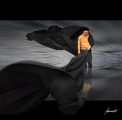 In Limbo. (Nikon d90) (Tomasito.!) Tags: longexposure boy sea portrait sky people orange selfportrait man black reflection guy art love beach water speed photoshop self macintosh asian person photography mirror photo hoodie interesting artwork mac nikon asia flickr wind action coat flash philippines gray handsome surreal manipulation