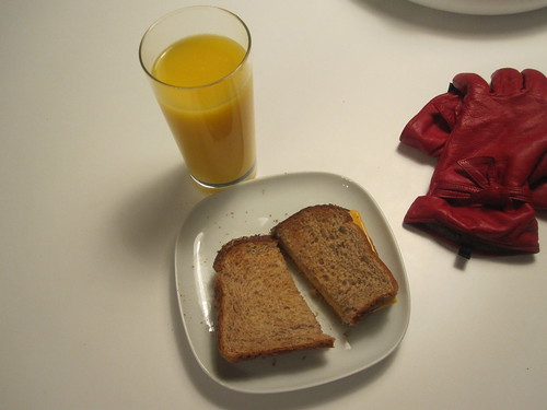 Cheese toast and OJ