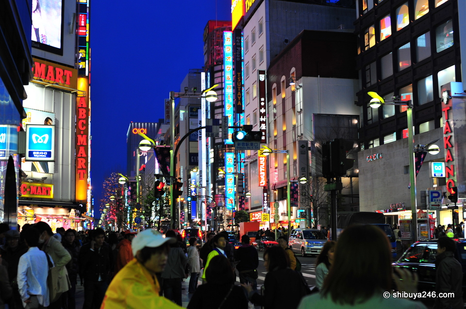 Lots of people on the street whether it be morning or night, Shinjuku is always alive.