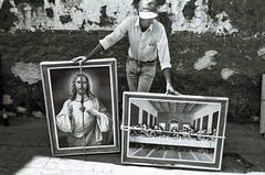 Palm Sunday (shadowplay) Tags: leica easter mexico religion jesus paintings rope sidewalk catholicism patzcuaro semanasanta tzintzuntzan lastsupper holyweek negscan