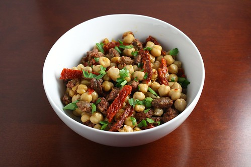 Chickpeas with Sausage and Sun Dried Tomatoes