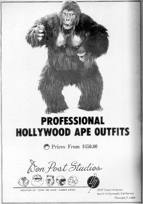 Bob as Kogar, his first ape suit created with Don Post