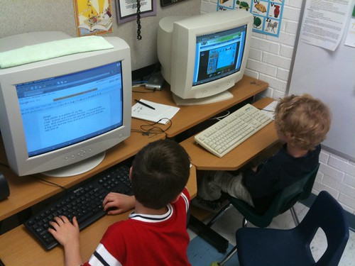 Working on the computer in Maria Knee's kindergarten classroom