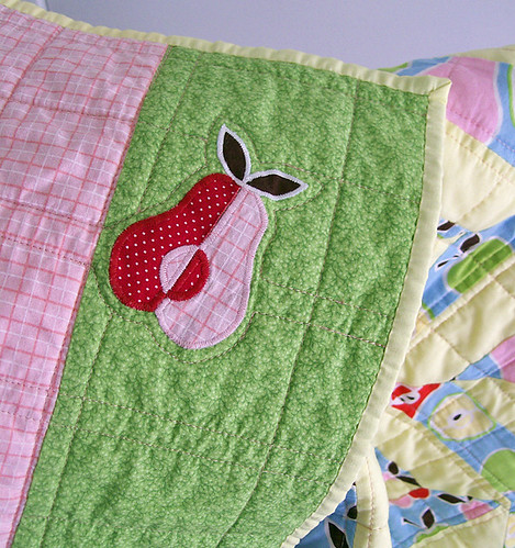 pear applique on quilt back