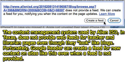 Google Reader - Create a Feed