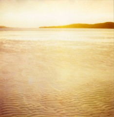 Skeins of Uig gold... (Trapac) Tags: uk sunset sea summer film beach yellow polaroid sx70 gold evening bay scotland sand glow tide lewis 600 mysterious instant mystical glowing incomingtide ripples uig pola isleoflewis peachy landcamera outerhebrides ndfilter polaroidlandcamera wmh instantfilm naheileanansiar traighuig ardroilsands ardroil thewesternisles 600instantfilm peachpink sx70landcameramodel1 filmpack18