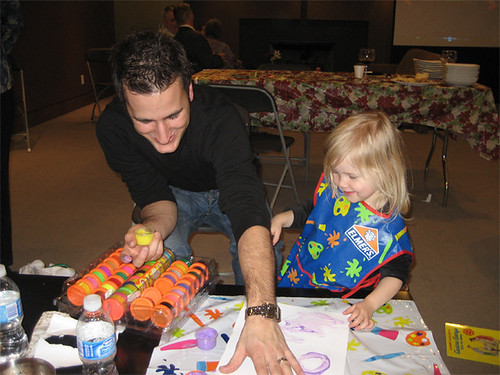 Hannah and Uncle Aidan do some finger painting