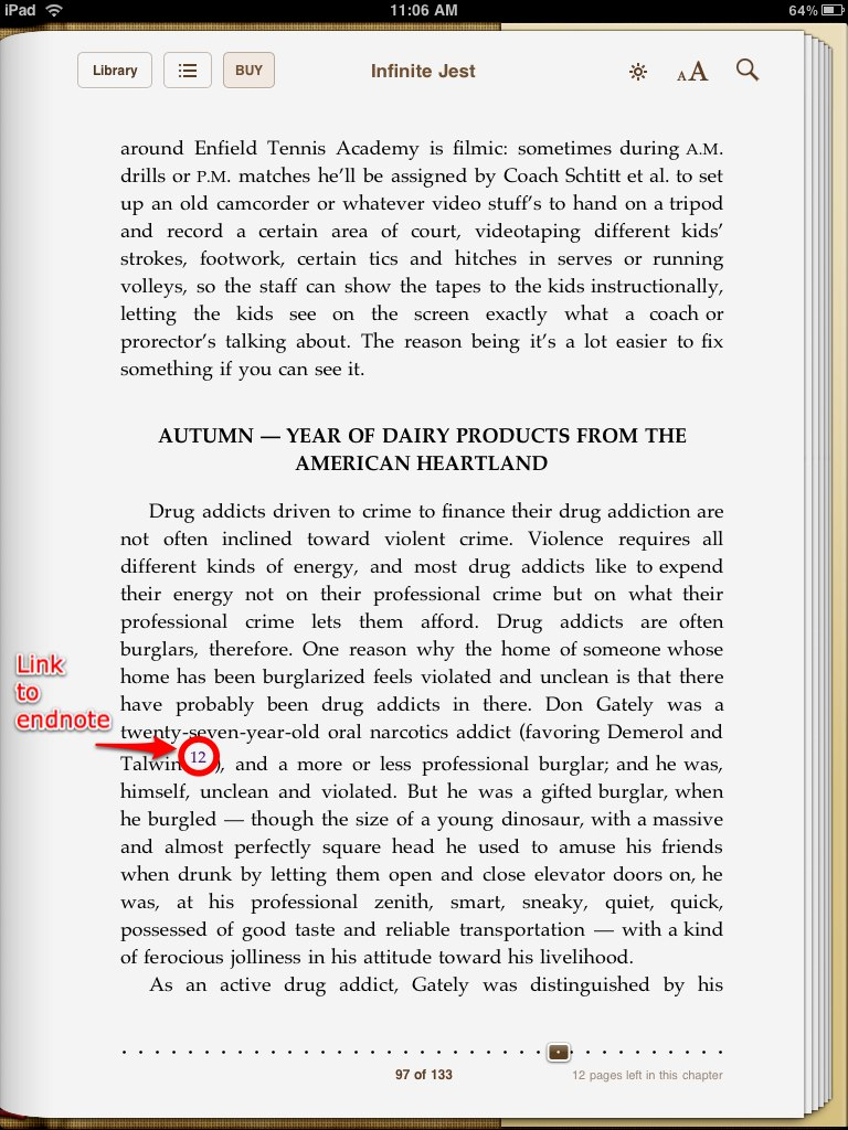 Infinite Jest in iBooks