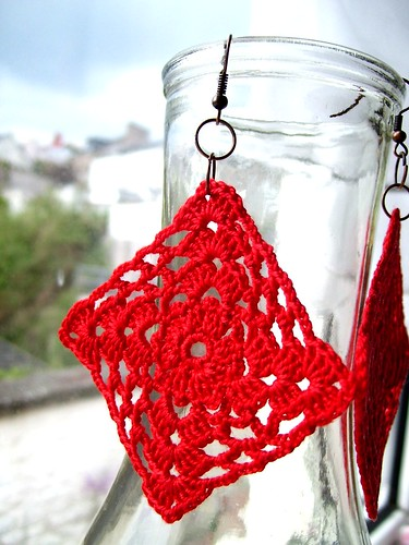 Crocheted granny square earrings
