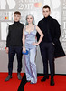 Luke Patterson, Grace Chatto and Jack Patterson of Clean Bandit attend The BRIT Awards 2017 at The O2 Arena on February 22, 2017 in London, England. (Photo by John Phillips/Getty Images)