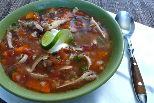 Crockpot Chicken, Black Bean & Chipotle Pepper Soup Recipe