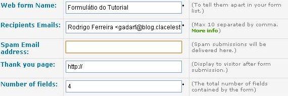 Criar formulário de contato passo 1.