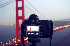 GGBokeh (ShanLuPhoto) Tags: ocean sanfrancisco california camera bridge sunset usa night america photography golden gate bokeh goldengatebridge bayarea bluehour lcd hbw loolooimage