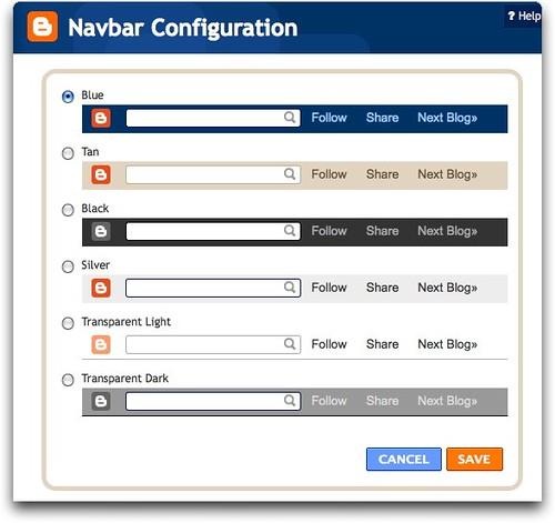 Blogger's Navbar Configuration dialog box