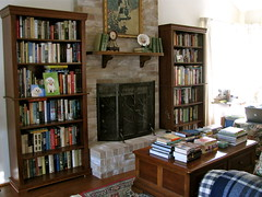 "My ""Nest""... (nbklx17 (Sandy)) Tags: blue house haven home design cozy fireplace nest interior cottage style books livingroom couch collection coffeetable decor bookshelves homesweethome cosy comfy bookcollection pilesofbooks cornersofmyhome smallhome"