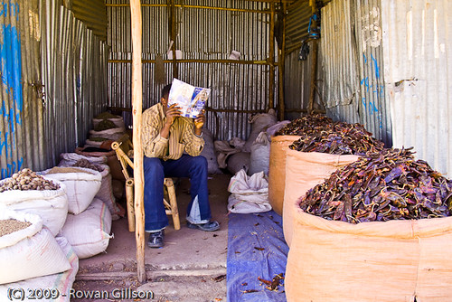 A vendor passes the time reading as he waits for his next customer in Addis Ababa, Ethiopia..