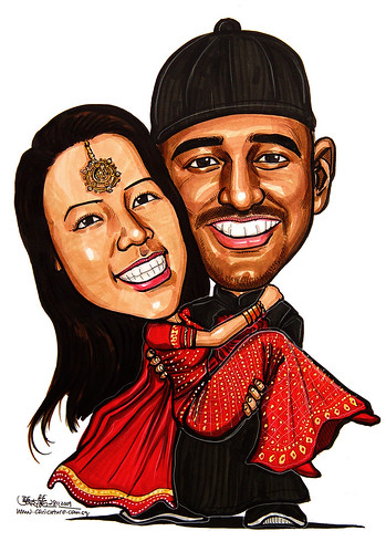 Indian and Chinese wedding caricatures