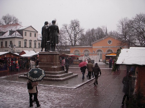 Goethe, Schiller, the Christmas Market, and Snow.