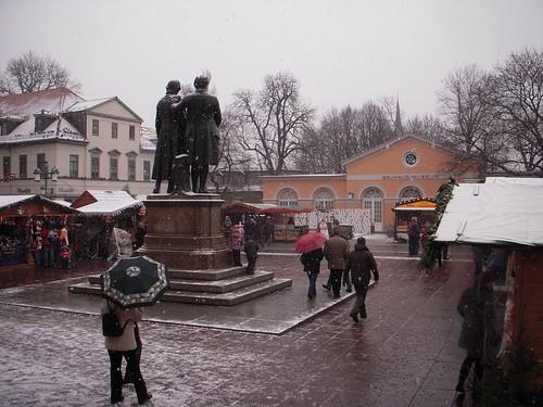 Goethe, Schiller, the Christmas Market, and Snow.