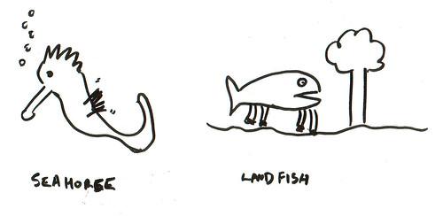 366 Cartoons - 318 - SeaHorse-LandFish