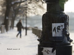 Always be a poet, even in prose. (Quote by Charles Baudelaire) (Sashs Kitchen-Studio Photography) Tags: winter woman snow lamp river geotagged switzerland sweet bokeh basel sascha 100 18 rhine rueb bej insashi bokehlicious rb magicunicornverybest allrightsreservedsascharueb sashskitchenstudiophotography