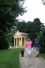 Walking dogs, Stowe Gardens