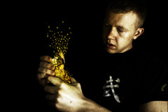 Who said Pixie dust doesn't exist? (Danny Beattie) Tags: light art photoshop dark golden glow sony digitalart pixie jar dust processed fairydust a300 pixiedust