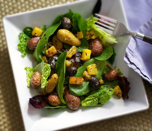 Roasted banana squash and potatoes with baby greens #salad #vegan #gluten-free