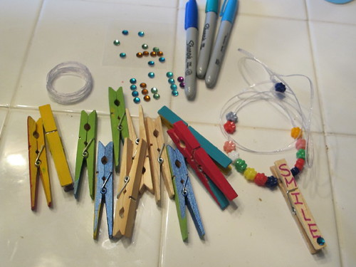 Supplies for clothespin charm necklaces