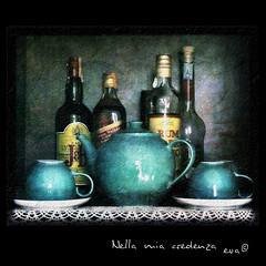 Nella mia credenza (in eva vae) Tags: blue stilllife cup composition cool eva bottles tea pot liquors squared textured bottiglie teiera tazze liquori supershot mywinners platinumphoto flickrdiamond memoriesbook inevavae kernotart