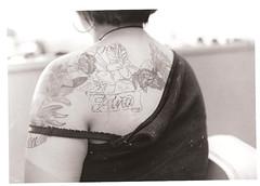 For Trina. (chelseadee) Tags: flower tattoo 35mm canon chelsea name canonae1 trina shoulder socialdocumentary blackandwhitefilm flowertattoo nametattoo sooc tattoostencil shoulderpiece skinpen