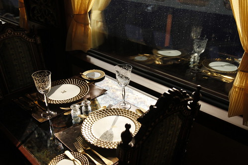 Maharajas' Express Luxury Train (India) - detail of place setting, restaurant