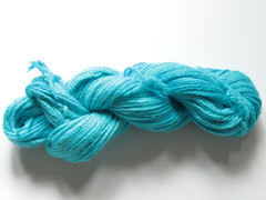 Merino aran dyed with Berry Blue Kool Aid