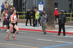 Elza Kireeva of Russia finishes 7th in the women's division and 34th overall with a time of 2:38:43 (kjdrill) Tags: ocean california street usa streets beach sports sport race start la pier losangeles pacific santamonica marathon running route distance runner dodgerstadium 5837