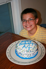 A.J. with his cake.