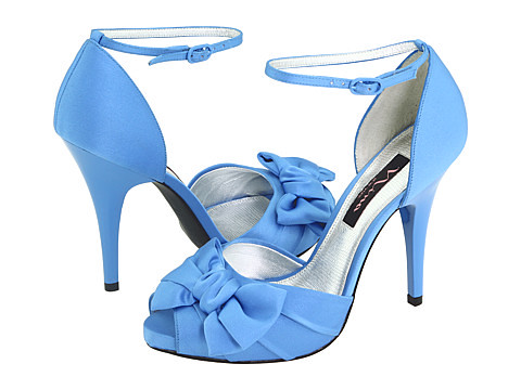 Ornament pleated blue wedding shoes