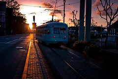 Car 1076 Riding into the Sunset (Nick.Fisher) Tags: sf sanfrancisco ca light usa strange myfav muni transit mass streetcar pcc 1076 fav10 dctransit msrcalendarsubmission