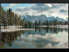 Reflections Around Lago di Antorno (our cultural archive) Tags: schnee winter italy lake snow mountains nature clouds reflections landscape wolken reflexions landschaft dolomites cate copenhaver anawesomeshot lagodiantorno italiaitalien