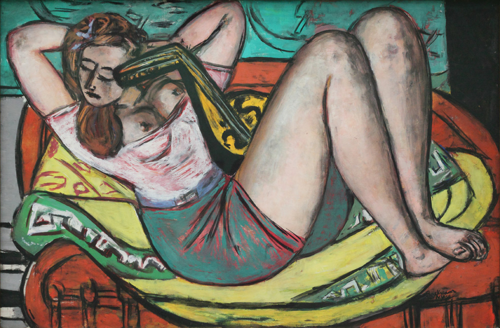 Max Beckmann, Frau mit Mandoline in Gelb und Rot [Woman with a mandolin in yellow and red], 1950
