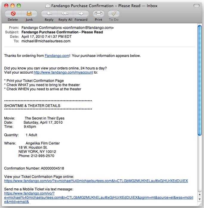 Fandango Email