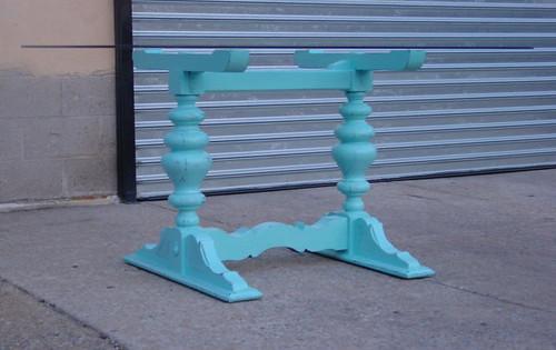 Side angle, blue trestle table