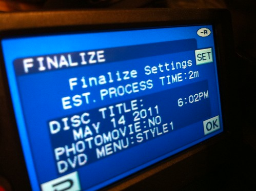 Finalize Sony mini-DVD video