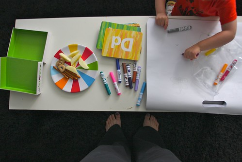 snack time/coloring time