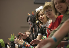 High Five Line (blacksheep_vmf214) Tags: columbus ohio anime smiling canon costume video high hands hand cosplay five character group culture games pop line gaming convention hyatt popculture con prop happening spontaneous ohayocon 2014