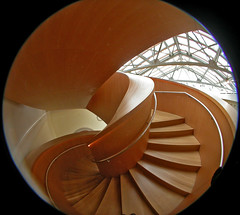 Stair up 6 (kynggefisher) Tags: wood toronto public architecture stair skylight fisheye ago curve frankogehry walkercourt stairsequence