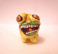 Zoobi Bagoda art doll (alyshellz) Tags: sculpture abstract art monster yellow scary doll critter cartoon surreal clay philly psychedelic uarts alyshellscraftshack alyshells