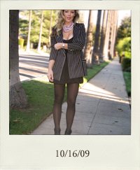 10-16, black and white striped blazer, 80's striped blazer, Vintage blazer, Ungaro Blazer, vintage Ungaro blazer, Bebe little black dress, bubble dress, polka dot tights, Velvet Angels wedge booties, chunky chain necklaces, pink pearl necklace, vintage rhinestone necklaces, curled hair with hot rollers
