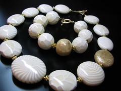 Necklace and Bracelet (b.mariatheresia) Tags: white gold necklace beads handmade jewelry polymerclay clay bracelet bead polymer polymerclaybeads polymerclaynecklace