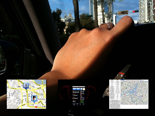 開車溫馨接送女兒老婆上學辦事情 Apple iPhone 3GS