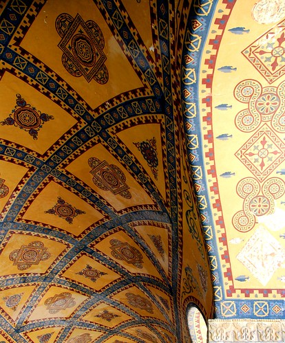 painted ceiling detail, haghia sophia (aya sofya), istanbul
